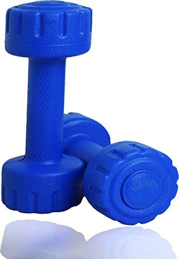 Aurion Set of 2 PVC Dumbbells Weights Fitness Home Gym Exercise Barbell (Pack of 2) Light Heavy for Women &...