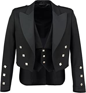 Pro Scottish LLC Prince Charlie Jacket Black with 3 Button Vest. Shiny Satin Lapels.