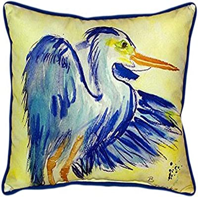 Amazon Com Betsy Drake Teal Blue Heron Indoor Outdoor Pillow 20 X 24 Home Kitchen