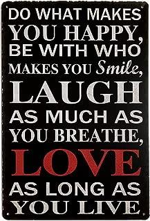 ERLOOD Love Laugh Live Vintage Funny Home Decor Tin Sign Retro Metal Bar Pub Poster 8 x 12