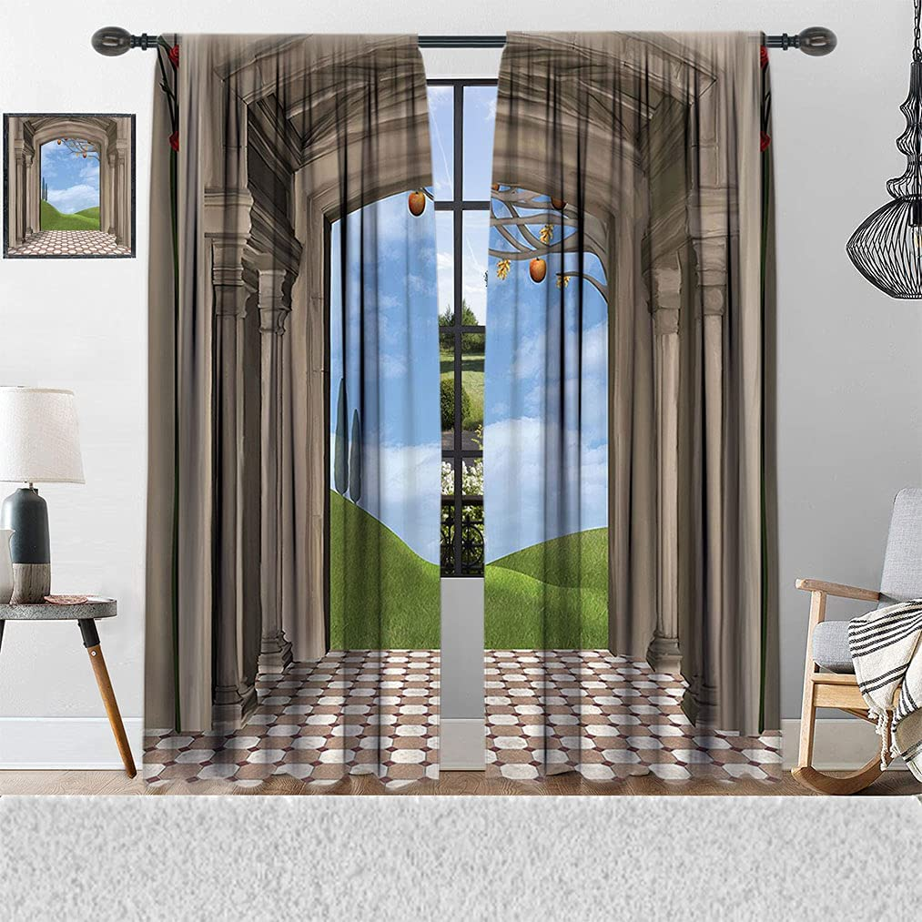 Apartment Decor unisex Window Curtains Entrance Classic Award Architectural