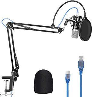 Neewer USB Microphone for Windows and Mac with Suspension Scissor Arm Stand, Shock Mount, Pop Filter, USB Cable and Table ...