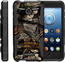 TurtleArmor | Compatible with Alcatel Acquire Case | Streak Case | Dawn Case | Ideal Case [Hyper Shock] Hybrid Dual Layer Armor Holster Belt Clip Case Kickstand - Tree Leaves Camouflage