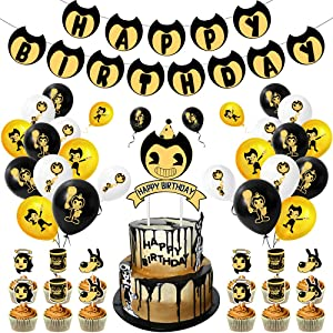 NOA The Ink Machine Party Decorations Game Character Printed Black Yellow Banner Birthday Balloons for Kids Adults Christmas Holiday Party Props Supplies Backdrop Decor