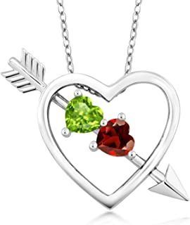 925 Sterling Silver Green Peridot and Red Garnet Heart & Arrow Pendant Necklace 1.05 Ctw with 18 Inch Silver Chain