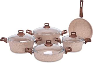 Alberto Granite 9Pcs Cookware Brownstone Color 100076459