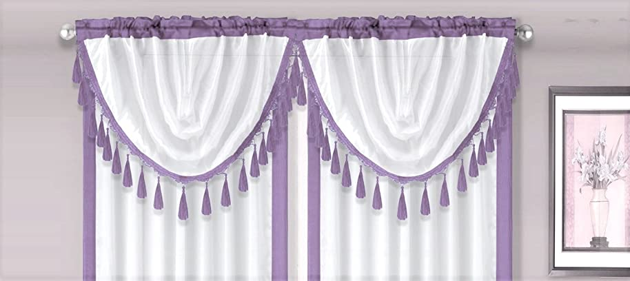GorgeousHomeLinen (AMY) 1 Lilac White Elegant Faux Silk Rod Pocket Swag Waterfall Dressing Valance with Tassels, 55
