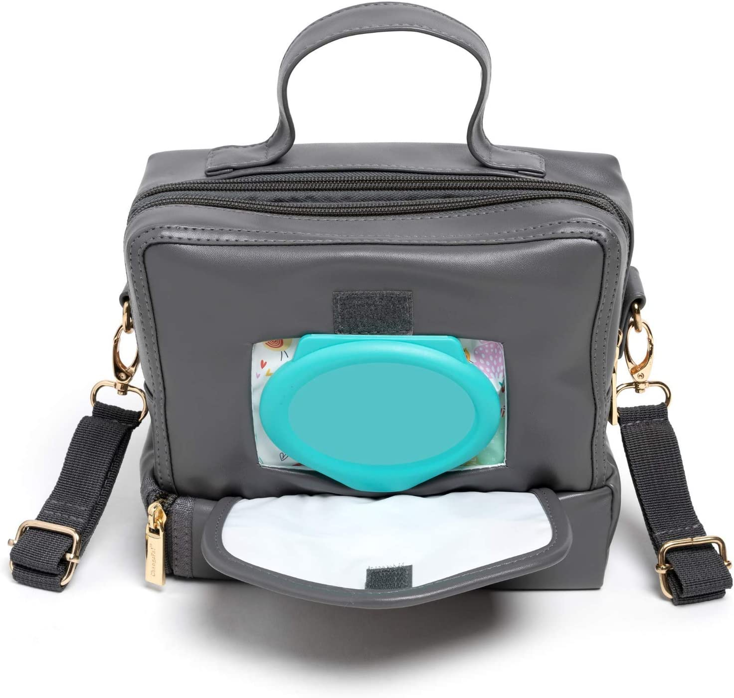 Mini Diaper Bag - Small Crossbody Baby Changing Station Bag with Wipes Compartment, Changing Pad, Stroller & Shoulder Strap