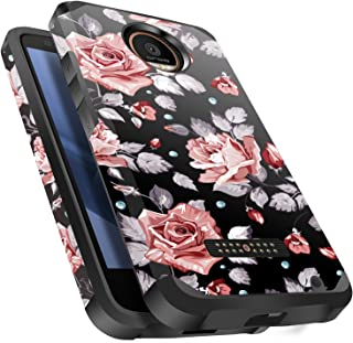 Moto Z Force Case, Moto Z Force Droid Case, Miss Arts Slim Anti-Scratch Kit with [Drop Protection] Dual Layer Hybrid Sturdy Armor Protective Cover Case for Motorola Moto Z Force -Rose Gold Flower