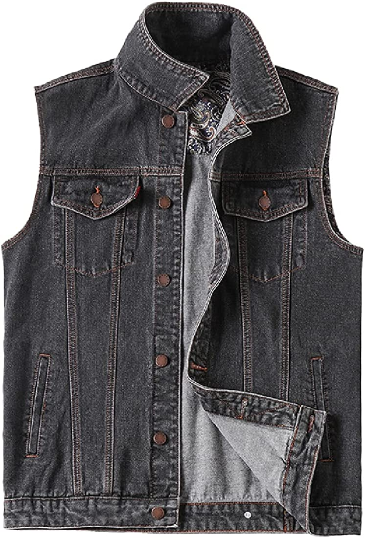 Cromoncent Men's Casual Sleeveless Button Down Denim Jean Outerwear Vests Jacket