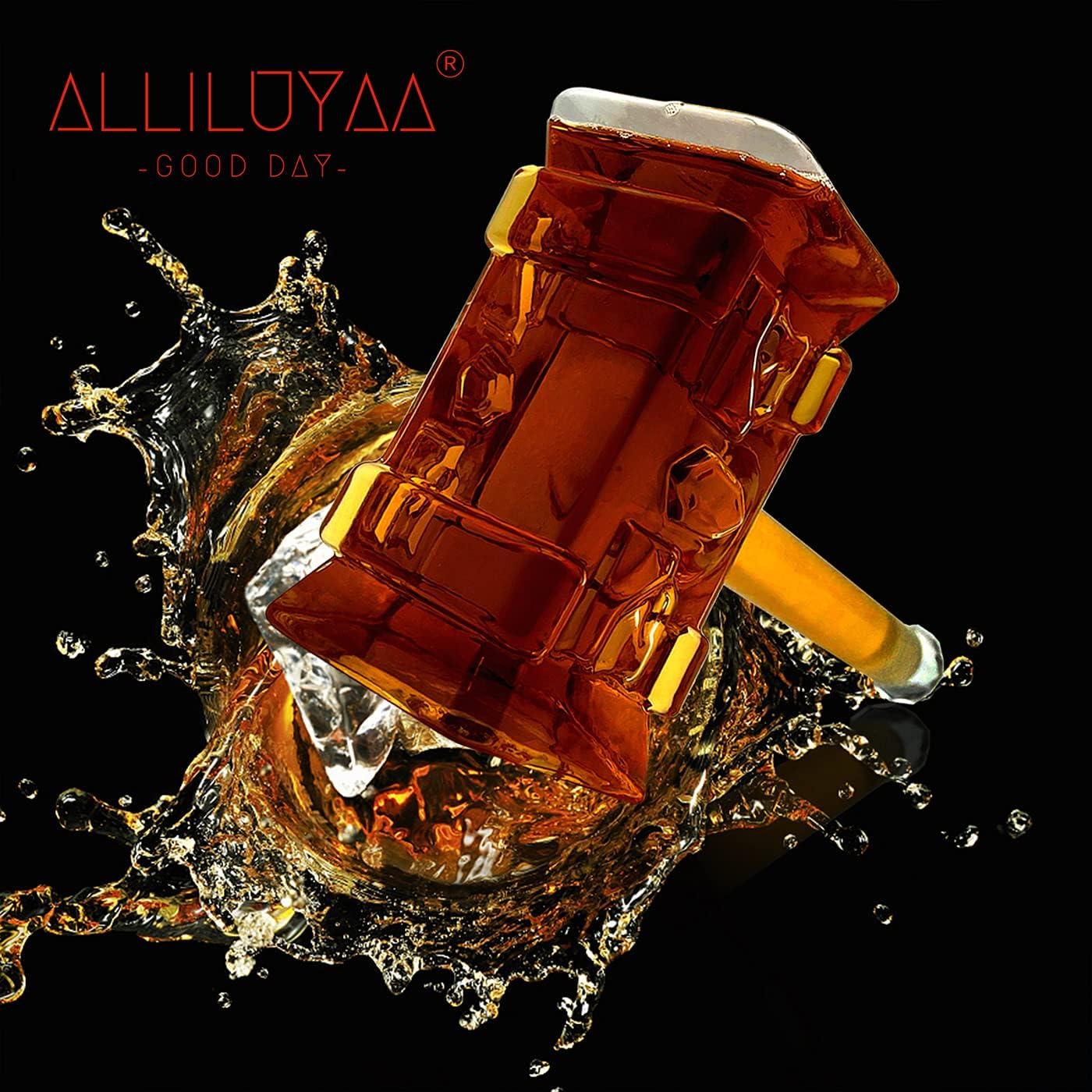Botella de Whisky,Hammer Formado Decantador de Whisky,Vidrio de Borosilicato Decantador de Vino Tinto,Accesorios para Bar,Brandy, Vodka,Botella decantadora para Pub Family(400 ml)