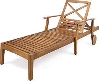 Great Deal Furniture Thalia Outdoor Teak Finished Acacia Wood Chaise Lounge