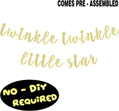 Twinkle Twinkle Little Star Gold Glitter Cursive Script Bunting Banner Baby Shower First Birthday Party Decoration Nursery Room Table Wall Sign - NO DIY REQUIRED
