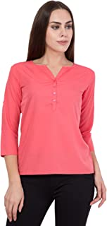 American-Elm Pink Slim Fit Top for Women