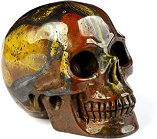 "Skullis 2.0"" Colorful Tiger Iron Eye Crystal Skull, Hand Carved Gemstone Fine Art Sculpture, Reiki Healing Stone Statue. 1073"