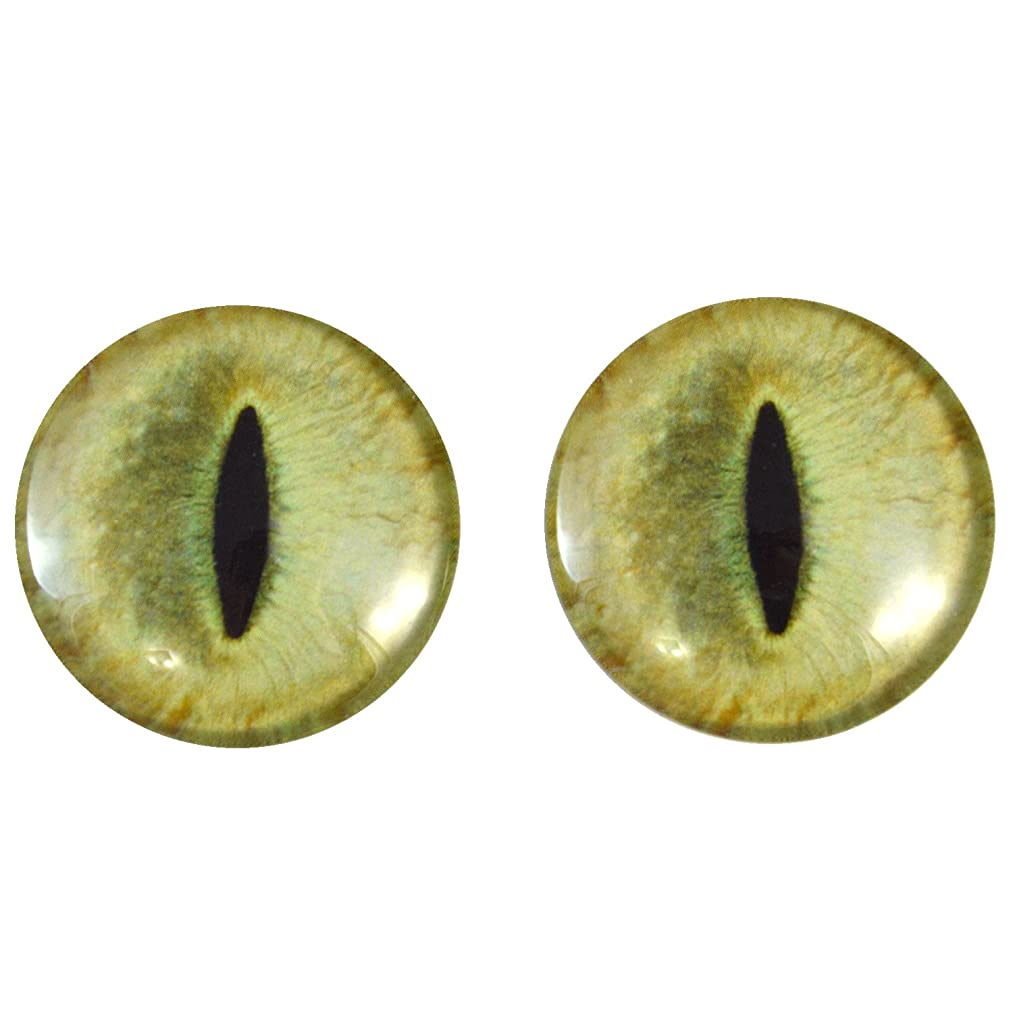 40mm Pair of Large Pale Yellow Cat Glass Eyes, for Jewelry making, Arts Dolls, Sculptures, and More