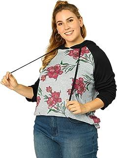 Agnes Orinda Women's Plus Size Hoodies Raglan Sleeve Floral Hoodie