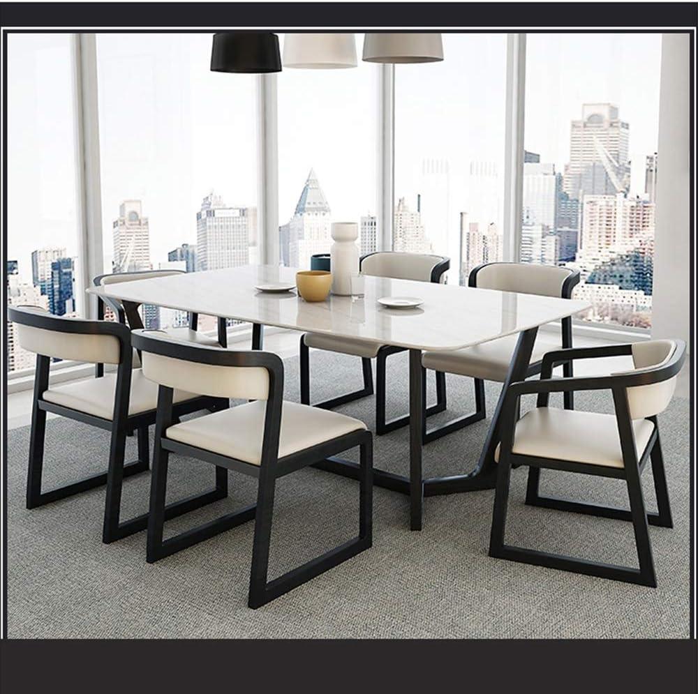 LJFYXZ Chaises Salle Manger Mobilier de restaurant Coussin PU Dossier design et bois massif Fauteuils Rétro Portant le poids 150kg noir (Color : Black) Black