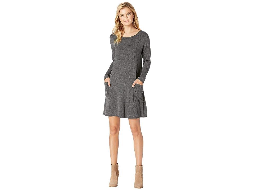 Mod-o-doc Rayon Spandex Fleece Seamed Sweatshirt Dress with Pockets (Midnight Heathr) Women