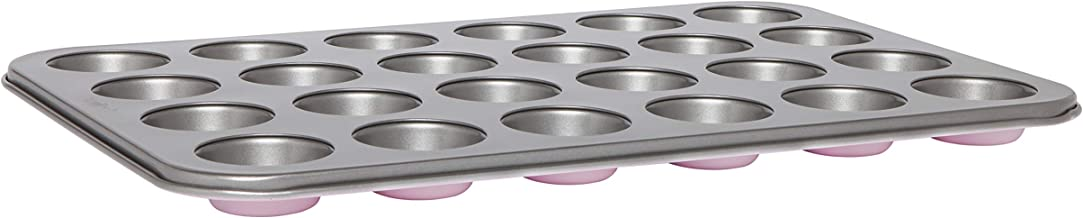 Wiltshire 40436 Two Tone 24 Cup Mini Muffin Pan 5 cm, Baking Sheet with Non-Stick Coating, Coated Cupcake Mould, Carbon St...