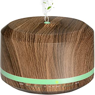 Essential Oil Diffuser, Mogomiten 450ML Wood Grain Ultrasonic Aromatherapy Diffuser Air Mist Humidifier with Waterless Auto Shut-off, 8 Color Led Lights for Bedroom Baby Women Office Yoga SPA