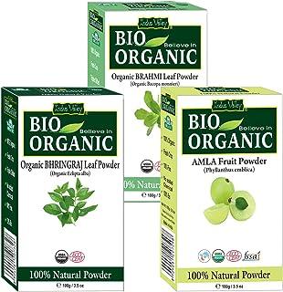 Indus Valley Combo Of Organic Amla Powder, Bhringraj Powder & Brahmi Powder- 100 Gm Each (Pack Of 3)
