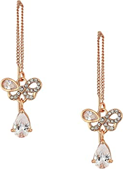 Betsey Johnson Blue by Betsey Johnson Rose Gold Bow and Crystal Stone Threader Earrings