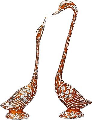 JaipurCrafts Pair of Kissing Duck Showpiece | White Metal Silver Plated Pair of Swan Statue Showpiece | Vastu Decorative Figurine(Copper- 14.50 in)