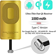 AmyZone Fast QI Receiver Type C Wireless Charging Receiver Adapter for Google Pixel 2/2XL/-Google Nexus 6P-LG V20/G5-HTC 10-Huawei Mate 9/10/11 Ultra-Slim 5w 1000mAh Compatible All Wireless Chargers