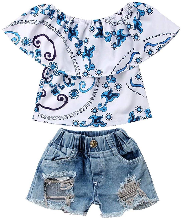 EGELEXY Little Girls Off-Shoulder Floral Print Ruffle T-Shirt Top+Ripped Denim Shorts Summer Clothes Set