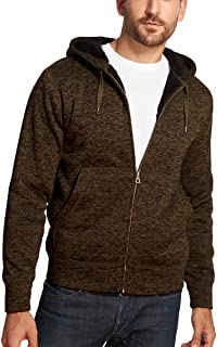 Men's Full Zip Sherpa Lined Fleece Hoodie - BROWN - MEDIUM