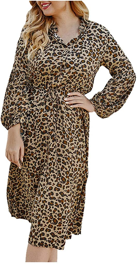 aihihe Leopard Print Dresses for Women Plus Size Long Sleeve Casual Loose Cocktail Party Midi Dress Sundress Coffee