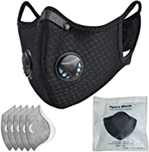 Dust mask with Filter,Sports Face Mask, 5 Filters and 2 Valves Included,Men's and Women's Universal Masks,Suitable for Woodworking, Outdoor Activities