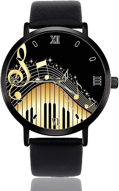 Reloj de pulsera vintage abstracto piano y nota musical para mujer, de cuarzo, correa de cuero de acero inoxidable