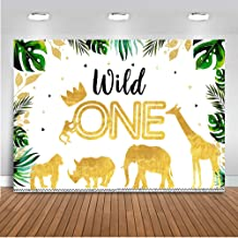 Mocsicka Gold Jungle Wild One Backdrop Safari 1st Birthday Party Supplies 7x5ft Vinyl Jungle Animals First Birthday Party Decoration Backdrops