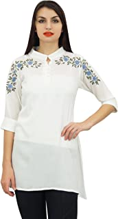 Phagun Women's Chic Style Tunic Floral Embroidered Cotton Modal Top