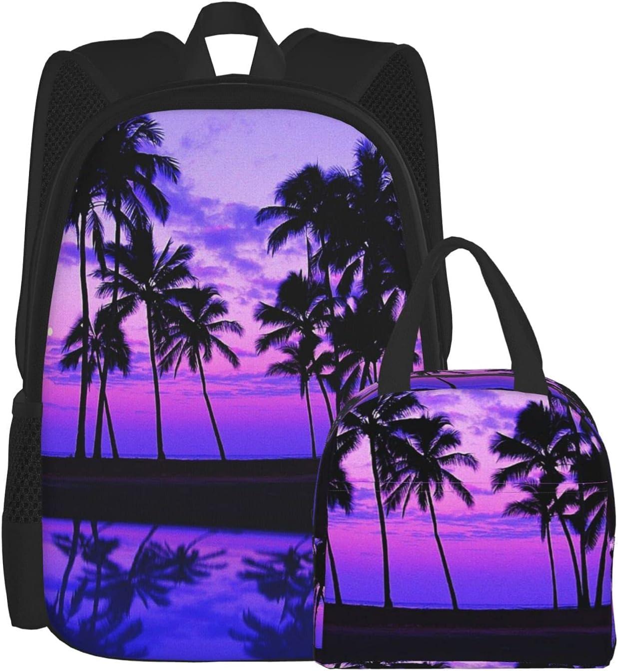 HOYOZE Free shipping Backpack Hawaii Purple Palm Tree Set Bag Sales Sunset Wa School