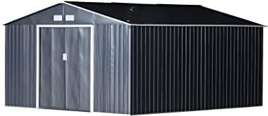 Outsunny 11' x 13' Metal Garden Shed Utility Tool Storage, Outdoor House for Backyard and Garden, Grey