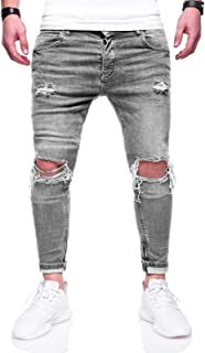 Behype Men's Jeans Zip Pants Pockets Washed and Ripped Knees JN-3299