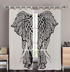 Indian Boho Black & White Big Asian Elephant Tapestry Curtain Panel Set of Two Bohemian Hippie Home Window Treatment for Living, Dinning & Bedroom (Pair) One Panel Size 38