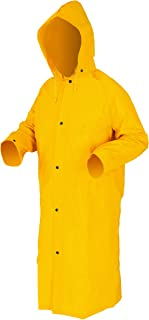 MCR Safety 240CL 49-Inch Classic Plus PVC/Polyester Corduroy Collar Coat with Detachable Hood and Cape Vented Back, Yellow, Large