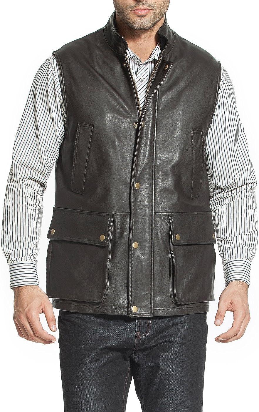 Landing Leathers Men Goatskin Leather Munitions Vest (Regular and Big & Tall)