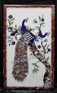 Gifts And Artefacts Mesa de comedor de mármol de 61 x 122 cm, mesa de café con múltiples piedras preciosas incrustadas con...