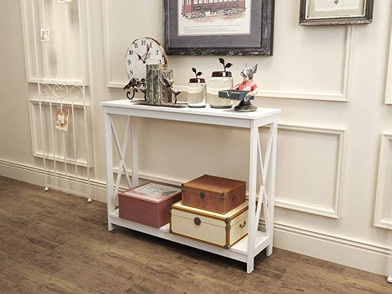 White Finish 3 Tier X Design Occasional Console Sofa Table Bookshelf