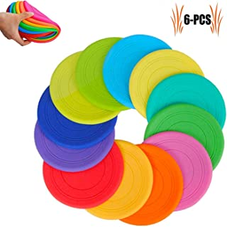 TEESUN Frisbee Kids Flying Disc Toy Outdoor Playing Lawn Game Disk Flyer Frisbee for Kindergarten Teaching Soft Silicone Colorful 6 Pack Bulk Set