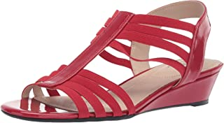 LifeStride Women's Yours Wedge Sandal, Red, 6 W US