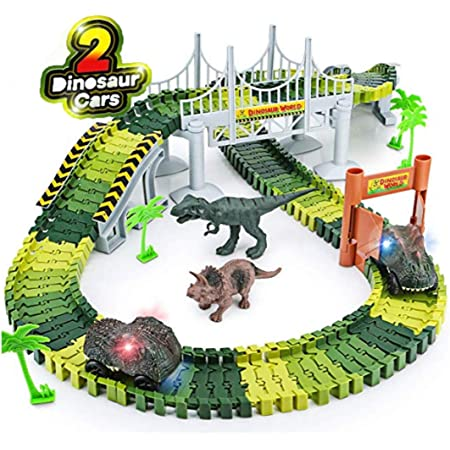 Snaptron Dinosaur Toy 142 pcs Train Toys for Kids with Track Big Size with 2 Toy car & 2 Toys for Kids Jurassic World Train Toy with Flexible Race Track Perfect Gift for Boys and Girls