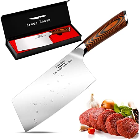 Aroma House Couteau du Chef Chinois-17cm Couperet de Cuisine,Feuille de Boucher Couteau Couteaux de Cuisine Acier Inoxydable,Poignée Ergonomique en Bois
