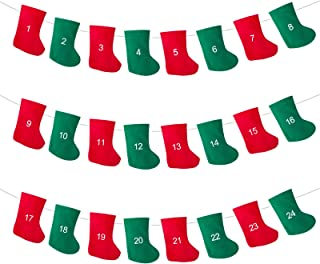 LIHAO Felt Christmas Stocking Advent Calendar Garland Banner for Christmas Decoration | Countdown to Christmas Banner