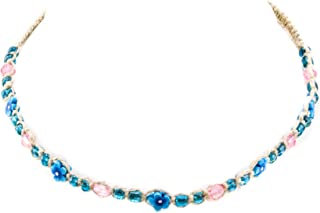 Hemp Choker Necklace with Blue and Pink Glass Beads, Blue Fimo Flowers